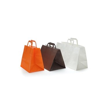 50 Bolsas de papel blanco,32x22x25, asa plana